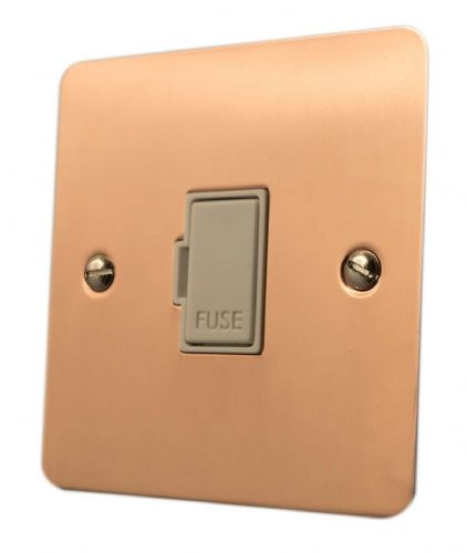 G&H FBC90W Flat Plate Bright Copper 1 Gang Fused Spur 13A Unswitched